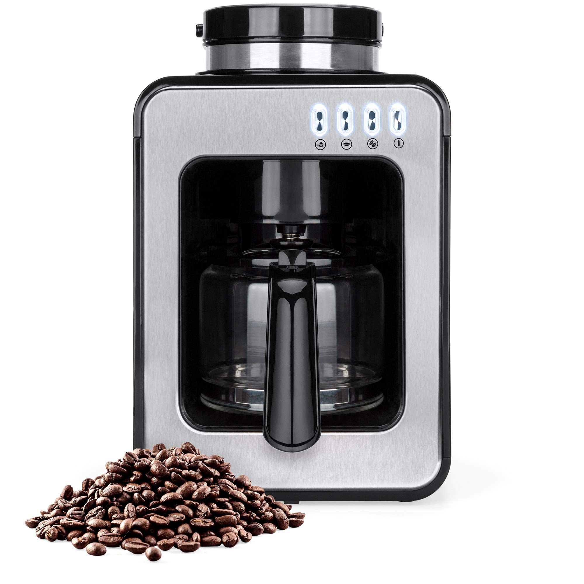 Best Choice Products 600W 2-Cup Automatic Coffee Maker w/Built-In Grinder, Auto Drip, Warm Plate, Scoop, Brush