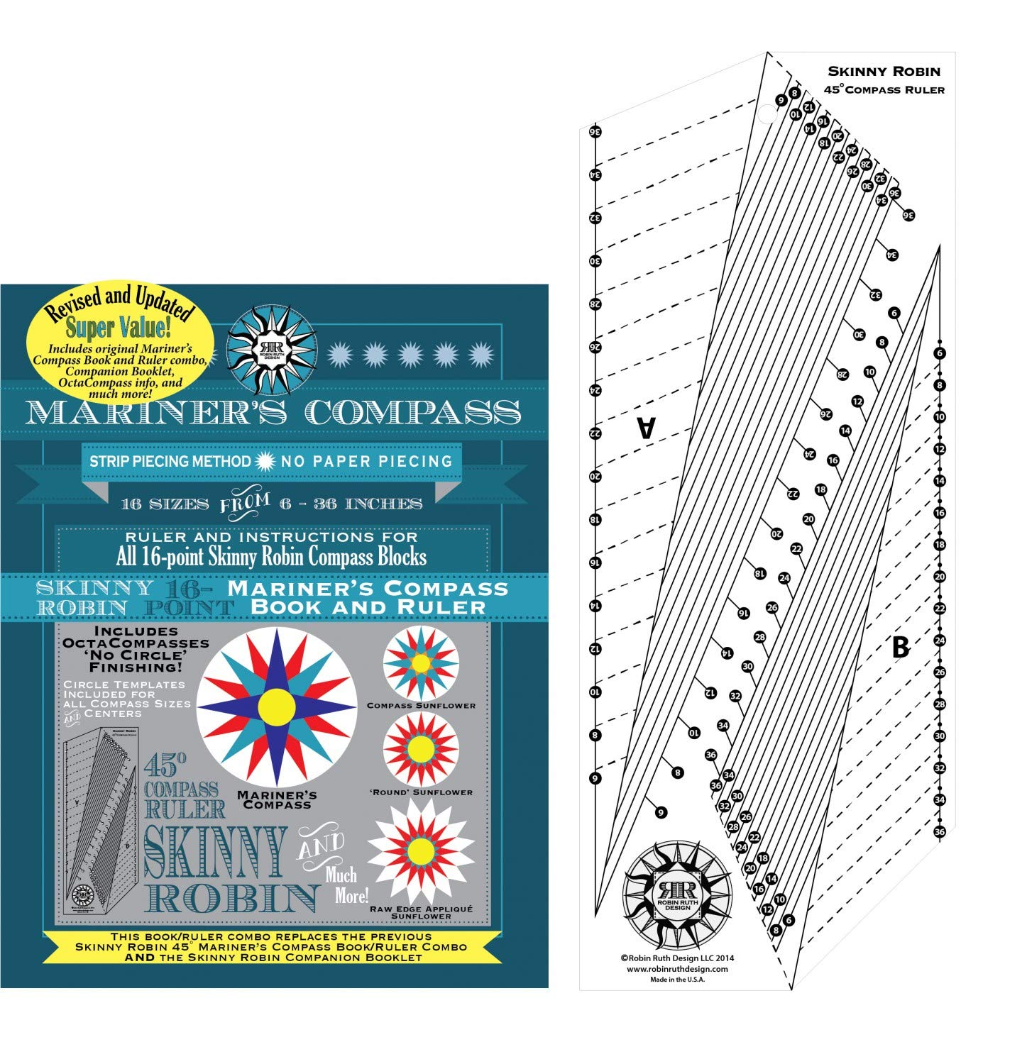 Mariner's Compass Skinny Robin Ruler and Instruction Manual for Quilt Patterns - Revised and Updated for 2019! by Robin Ruth Designs