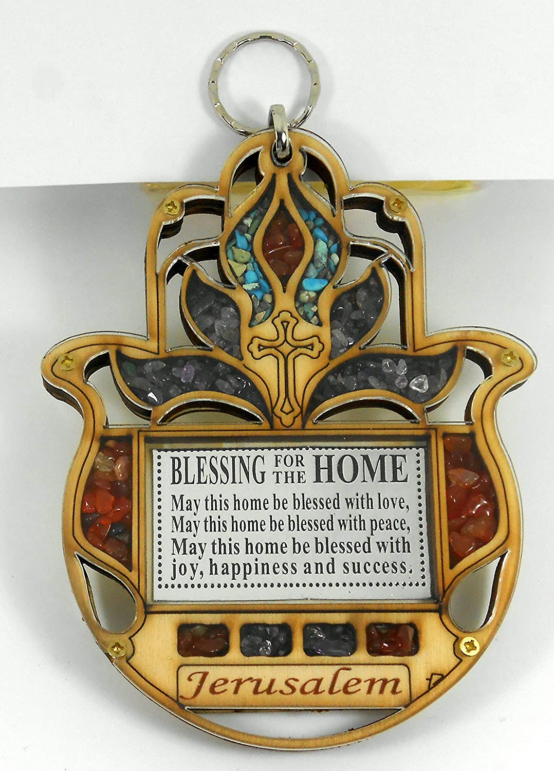 Hand Shape Home Blessing Tulip flower Wood with Cross Wall Decor Wooden Hamsa Hanging Housewarming Orthodox Greek Christian Religious Plaque Lucky Charm Icon Gift made in the Holy land 5.5""
