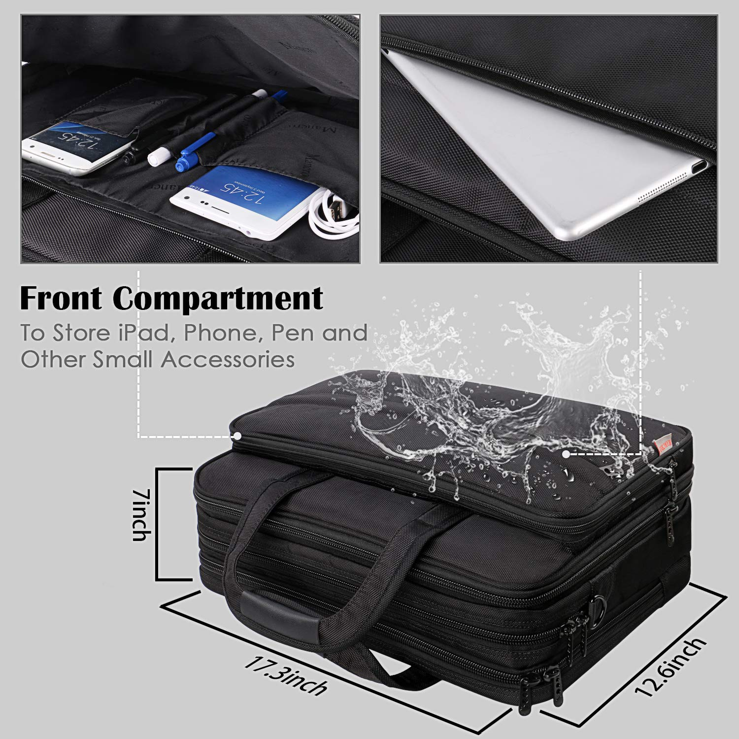 17 inch Laptop Bag, Large Business Briefcase for Men Women, Travel Laptop Case Shoulder Bag, Waterproof Carrying Case Fits 15.6 17 inch Laptop, Expandable Computer Bag for Notebook, Ultrabook by Mancro (Image #2)