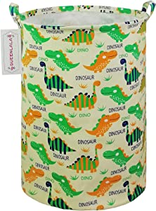 QUEENLALA Large Storage Basket,Collapsible Round Storage Bin,Laundry Hamper/Bathroom/Home Decor/Baby Hamper/Boxes/Baby Clothing (Round Dinosaur)