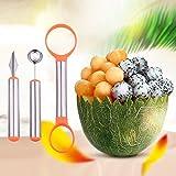 WAAO 3-in-1 Stainless Steel Melon Baller & Carving Knife & Fruit Scoop Set for Fruit Slicer Dig Pulp Separator and Carve