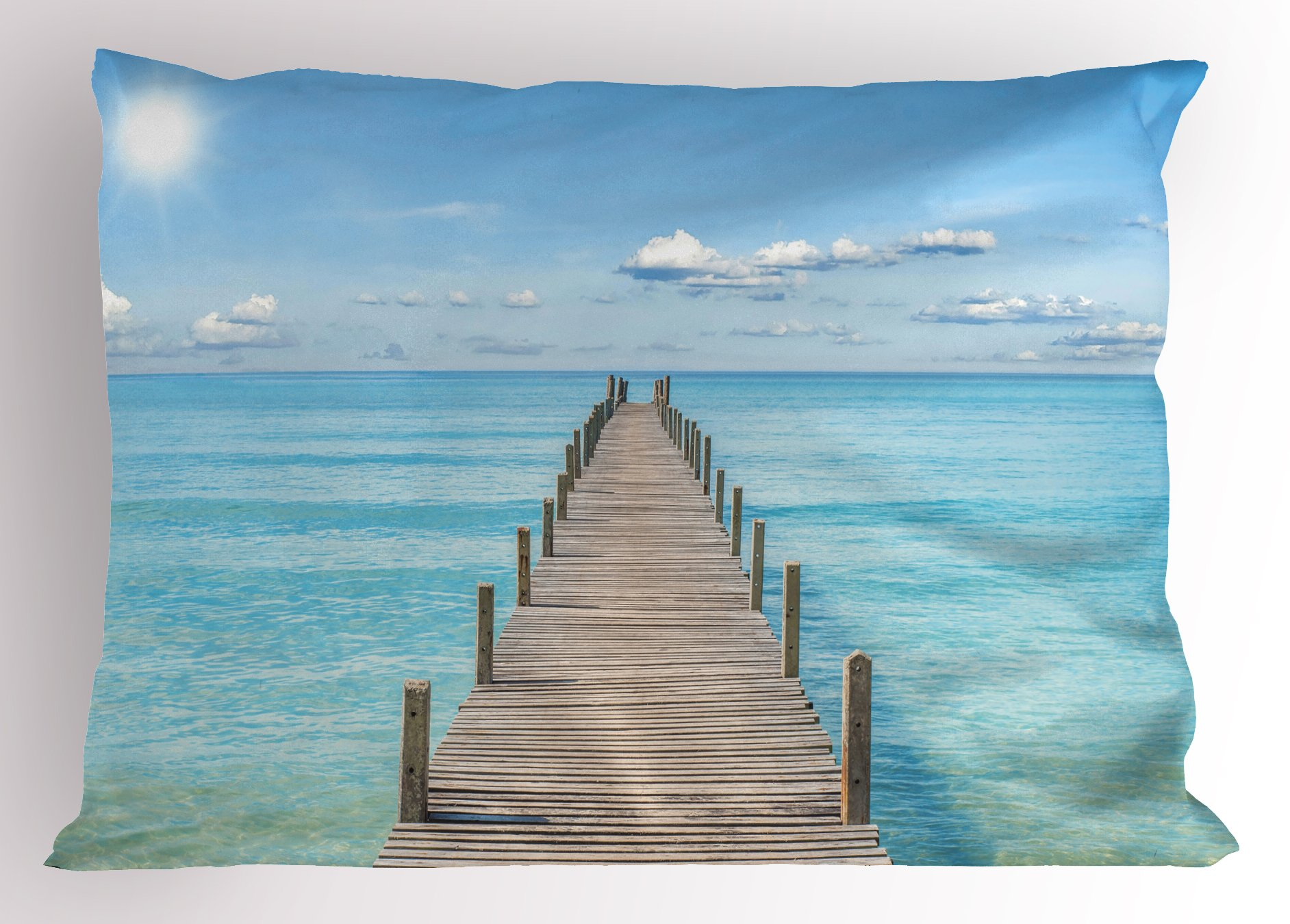 Lunarable Landscape Pillow Sham, Wood Pier Deck in Asian River Sky and Sun Summer Travel Theme Art Print, Decorative Standard King Size Printed Pillowcase, 36 X 20 inches, Blue Brown White by Lunarable (Image #1)