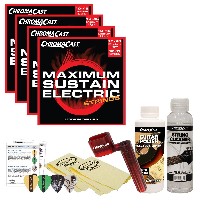ChromaCast Electric Guitar Accessory Bundle: 4 Packs of Maximum Sustain Medium-Light .010-.046 Electric Guitar Strings, String Cleaner, String Winder, Picks, Guitar Polish and Polish Cloths
