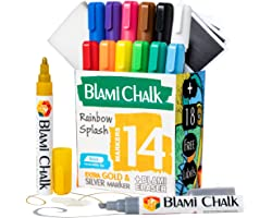 Blami Arts Liquid Chalk Markers and Chalkboard Labels Pack -14 Erasable Ink Pens - Extra Gold and Silver Colors Included Non