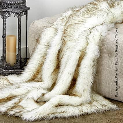 Fur Accents Sumptuous Luxury Faux Fur Throw Blanket Designer Quality Made In America 58 X80 Tawny Arctic Fox Home Kitchen