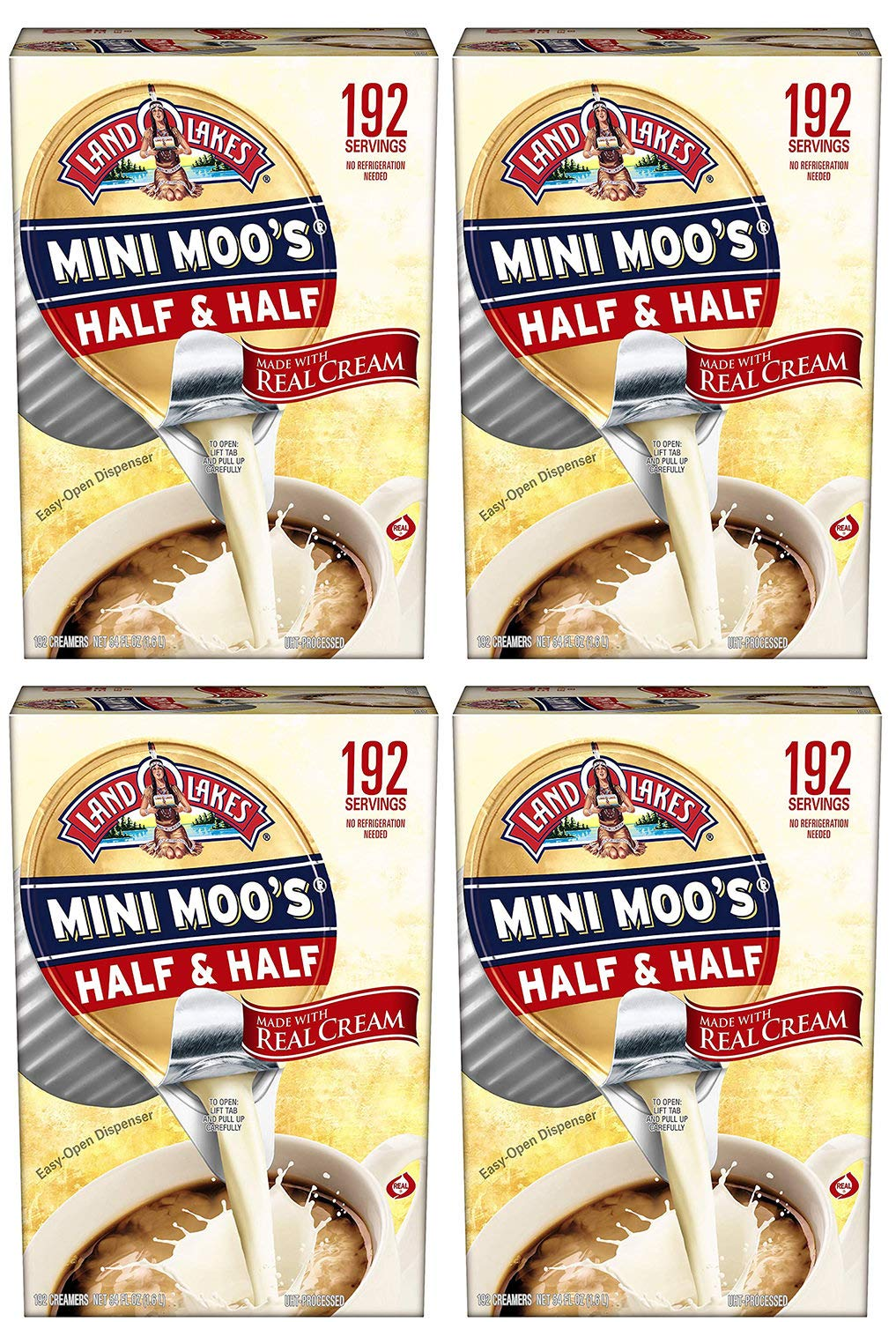 Land klMna Lakes Mini Moos Creamer Half and Half Cups 192 Count 54 fl oz (Pack May Vary), Individual Shelf-Stable Half and Half Pods for Coffee Tea Hot Chocolate, Made with Real Cream (768 Count)