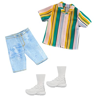Barbie Clothes: 1 Outfit for Ken Doll Includes Striped Shirt, Denim Shorts and Shoes, Gift for 3 to 8 Year Olds ​, GHX46: Toys & Games