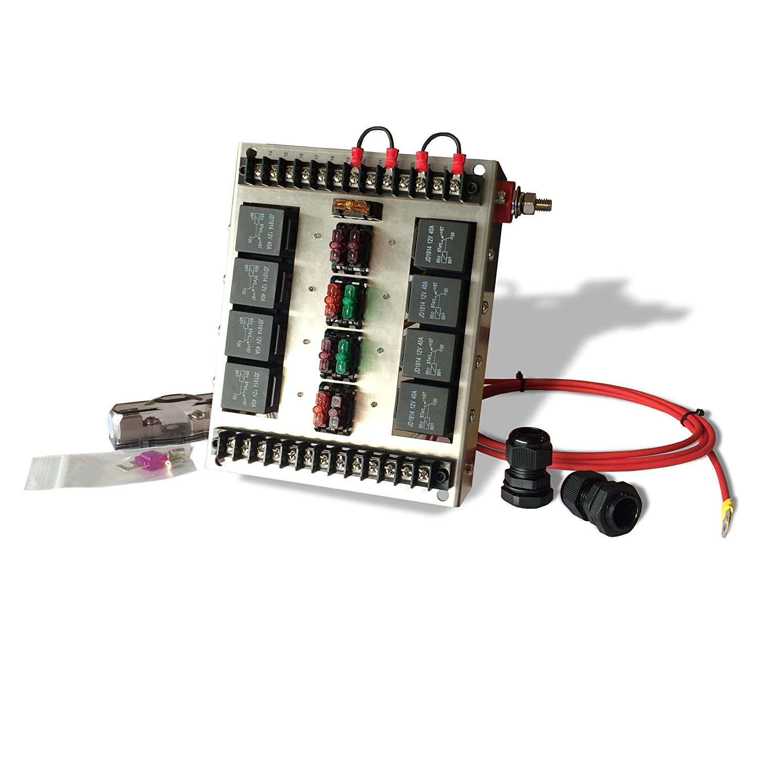 8 Relay Panel Box and Wiring Block Kit with 12 Volt Automotive Relay Switches and LED Blade Fuses MGI