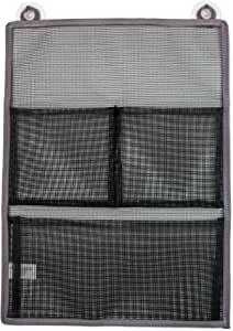 DII Quick Dry Hanging Mesh Bath Organizer with Suction Cups to Storage Toiletries, Toy, Bathroom Accessories, Perfect for Gym, School, Dorm, College, Travel, Camping, 3 Pockets, Gray