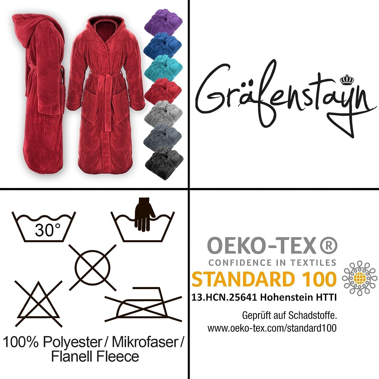 Gr/äfenstayn Accappatoio Uomo /& Donna in Morbido Pile con Cappuccio dalla Taglia S alla XXXL in Diversi Colori con Certificazione /Öko-Tex Standard 100 in Pile di Flanella