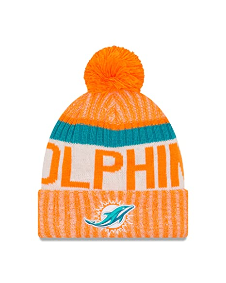 2045ed4443f598 New Era NFL Miami Dolphins Adult Men Cold Weather Reverse Team Sport Knit  Beanie,OSFA