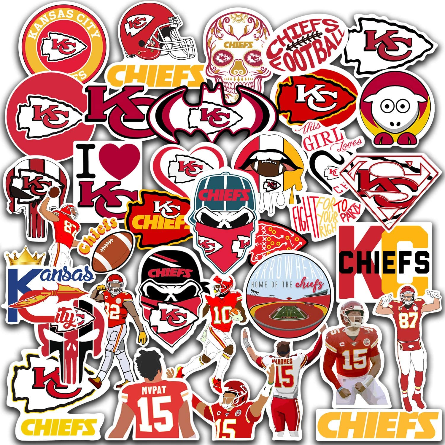 Kansas City Vinyl Chiefs Stickers Pack of 40 pcs Green Bay Vinyl Packers Stickers Pack of 30 pcs