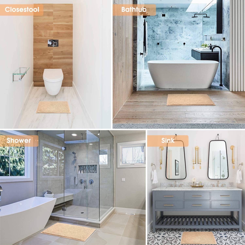 JARITTO Bathroom Non-slip Mat Bath Mat Chenille Microfiber Floor Rug Soft Machine Washable Absorbent for Shower Toilet 50 x 80 cm White