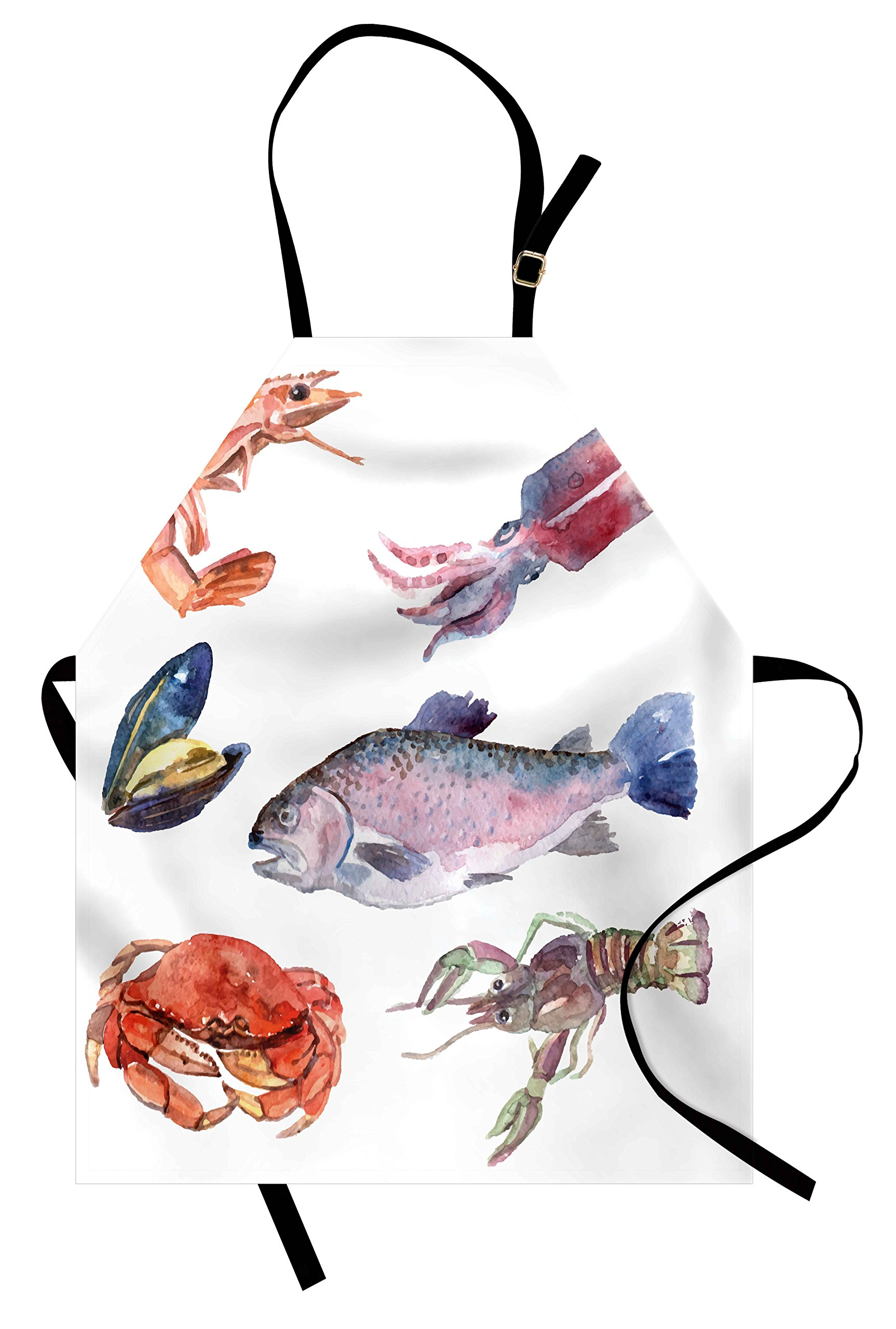 Ambesonne Sea Animals Apron, Sea Food Illustration with Shrimp Mussel Fish Crab Watercolor Painting Effect, Unisex Kitchen Bib Apron with Adjustable Neck for Cooking Baking Gardening, Mustard Navy by Ambesonne