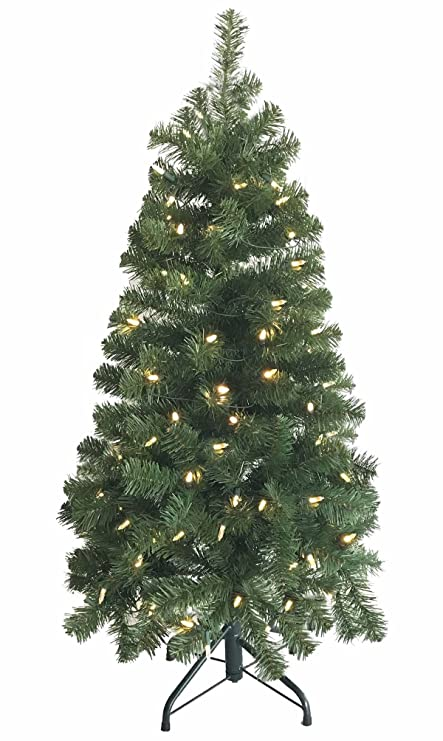 Burning Christmas Tree.Morning Star 4 Foot Fir Tree With Steady Burning Incandescent Clear Lights Christmas Tree