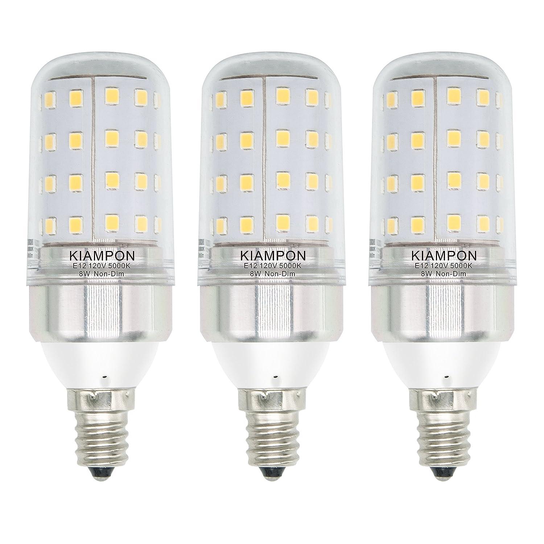 Kiampon E12 Led Bulbs 8w Non Dimmable Led Candelabra Light Bulbs 100 Watt Equivalent 1000lm Cold White 5000k Led Chandelier Bulbs Decorative Candle