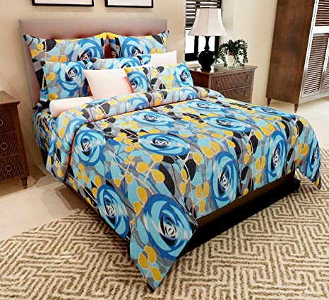 Home Candy 144 TC Blue Leaves and Flowers Cotton Double Bed Sheet with 2 Pillow Covers - Blue Bedsheets at amazon