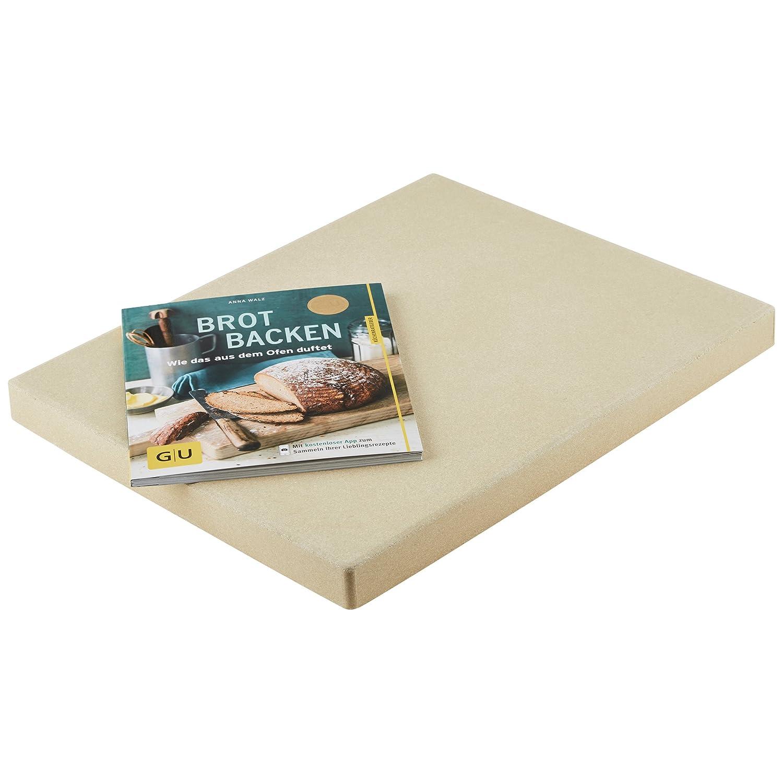 Levivo Pizza Stone/Bread Baking Stone 30 x 38 x 3 cm made from heat-resistant cordierite & GU Book Brot backen (Baking Bread) SET200200000144