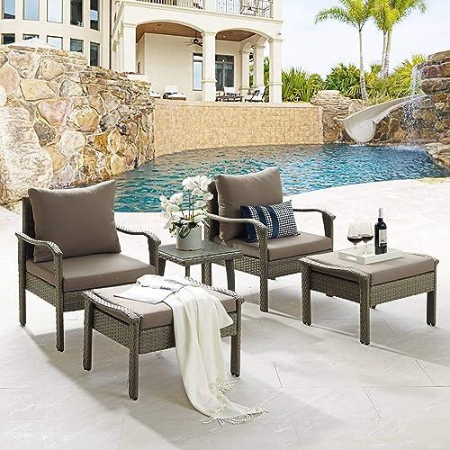 Tribesigns 5 Piece Wicker Patio Outdoor Furniture Set