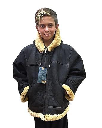 Amazon.com: Kids B-3 Genuine Shearling Leather Bomber Jacket ...