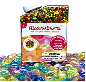 MarvelBeads Water Beads [Non-Toxic & Eco-Friendly] Fully Certified, Rainbow Mix for Kids Sensory Play and Spa Refill BPA & Phthalate Free (Over Half Pound)