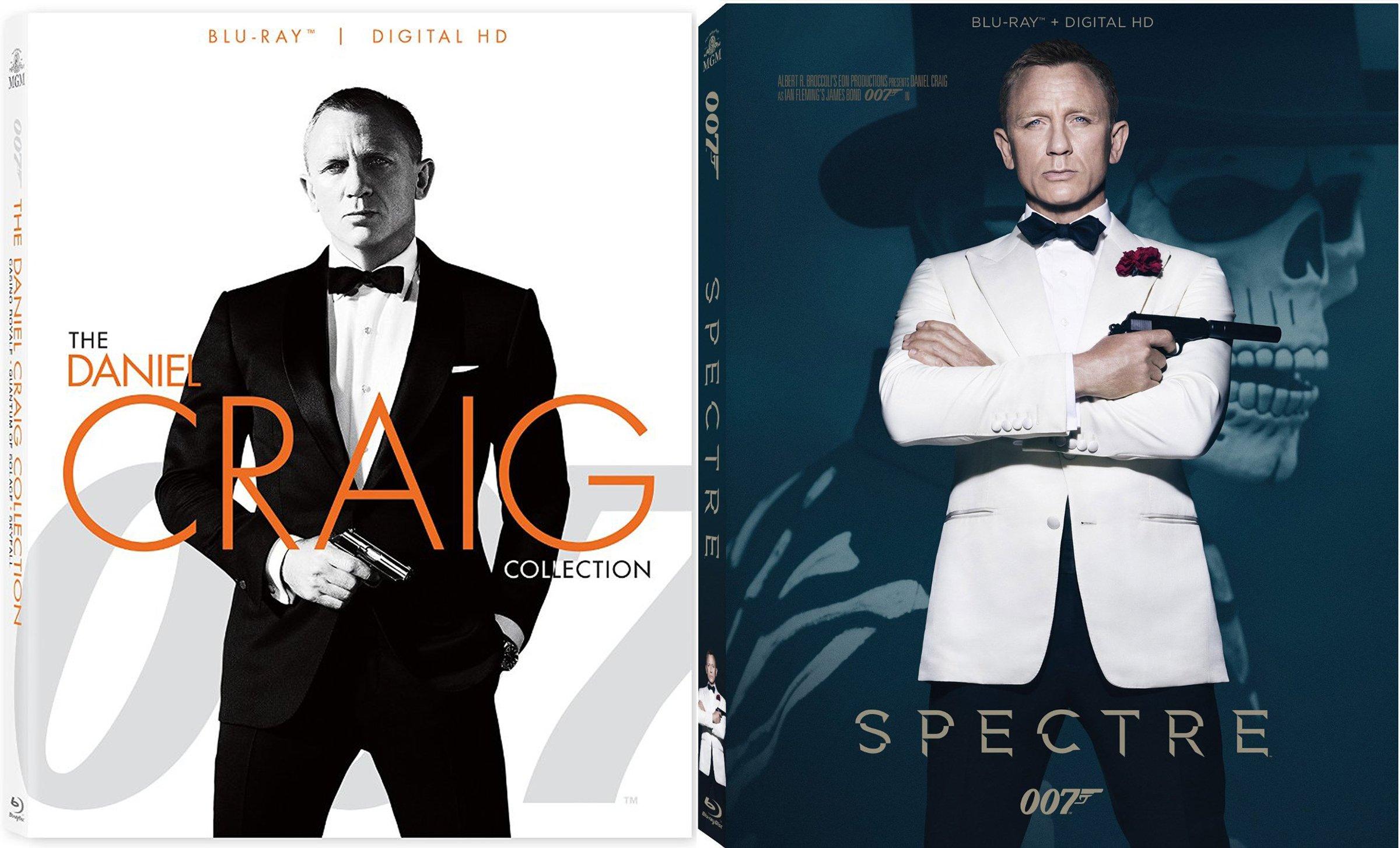 Spectre, Skyfall, Casino Royale Blu Ray & Quantum of Solace James Bond Set Pack 007 Daniel Craig Collection 007 Set