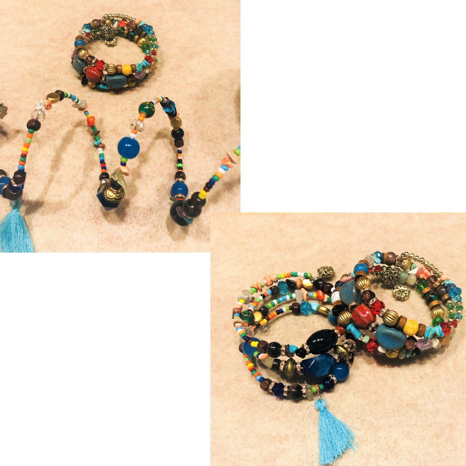 ISAACSONG.DESIGN Bohemian Multilayer Healing Stone Crystal Beads Charm Tribal Wrap Bangle Bracelet for Women (2 Pcs Colorful Beaded) by ISAACSONG.DESIGN (Image #5)