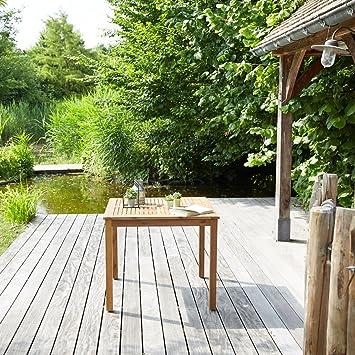 Table de Jardin carrée en Bois d\'acacia FSC: Amazon.fr: Jardin
