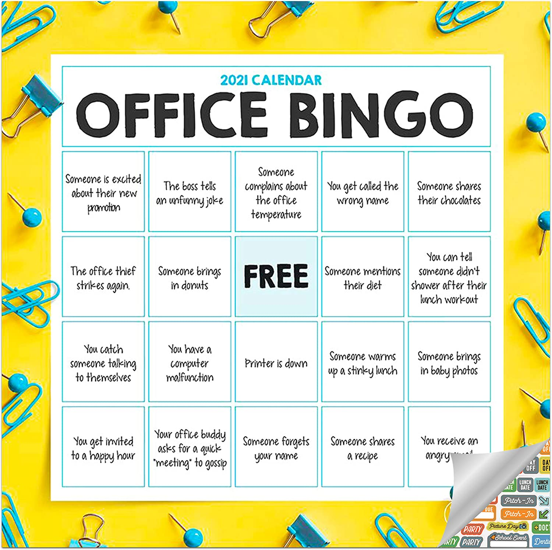 Office Bingo Calendar 2021 Bundle - Deluxe 2021 Office Bingo Mini Calendar with Over 100 Calendar Stickers (Office Humor Gifts, Office Supplies)