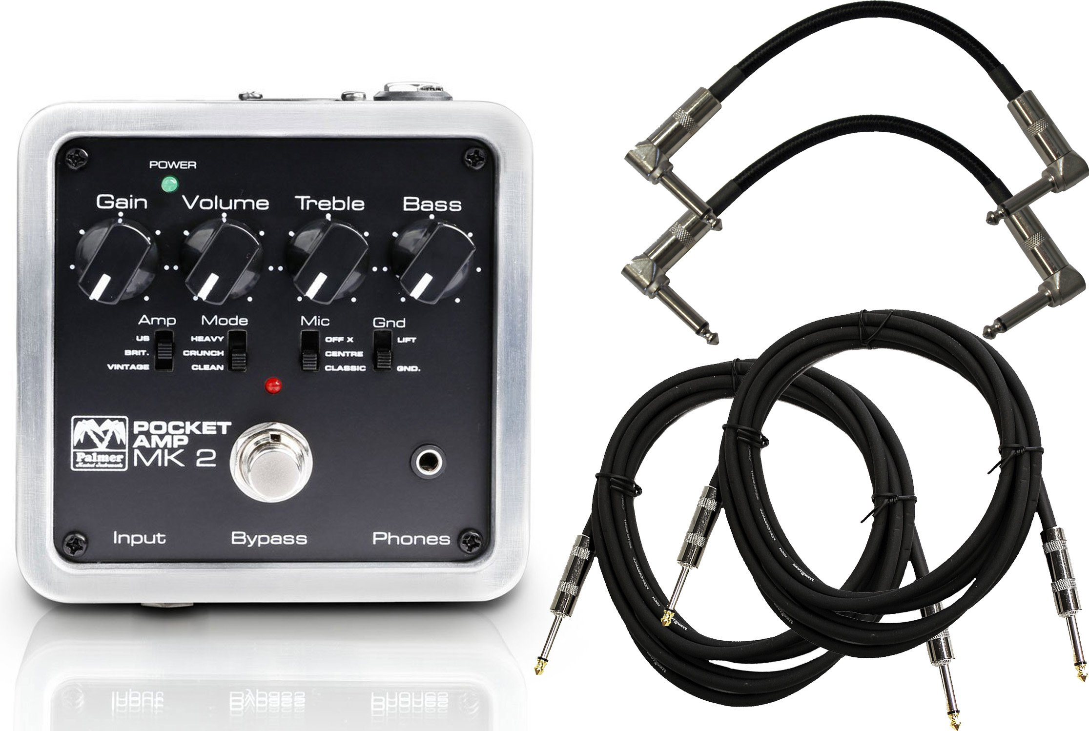 Palmer PEPAMP MKII Pocket Amplifier Pedal w/ 4 Cables