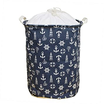 Large Laundry Hamper 18 Inches Waterproof Folding Clothes Storage Basket Toy  Organizer With Handles Mediterranean Style