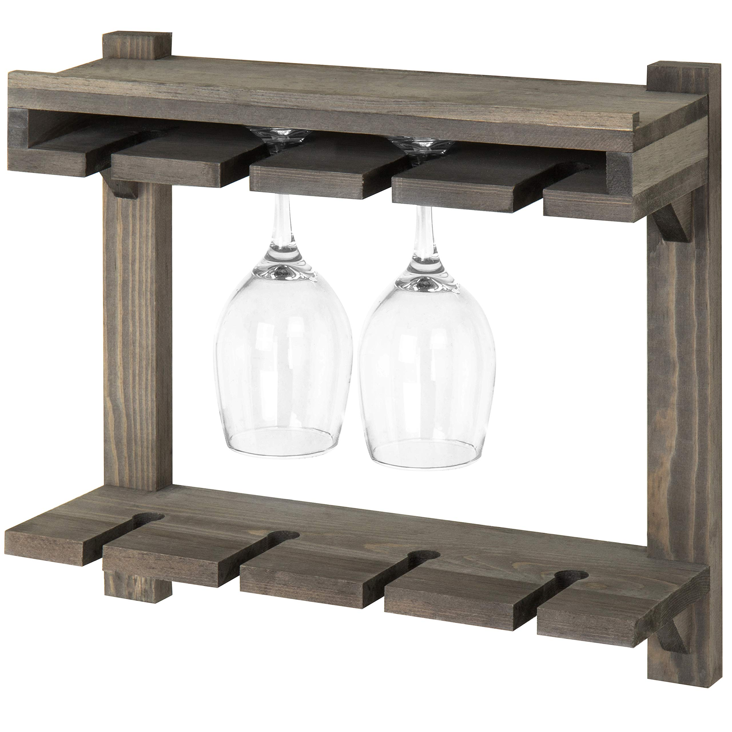 MyGift Wall-Mounted Gray Wood 2-Tier Wine Glass Storage Rack by MyGift