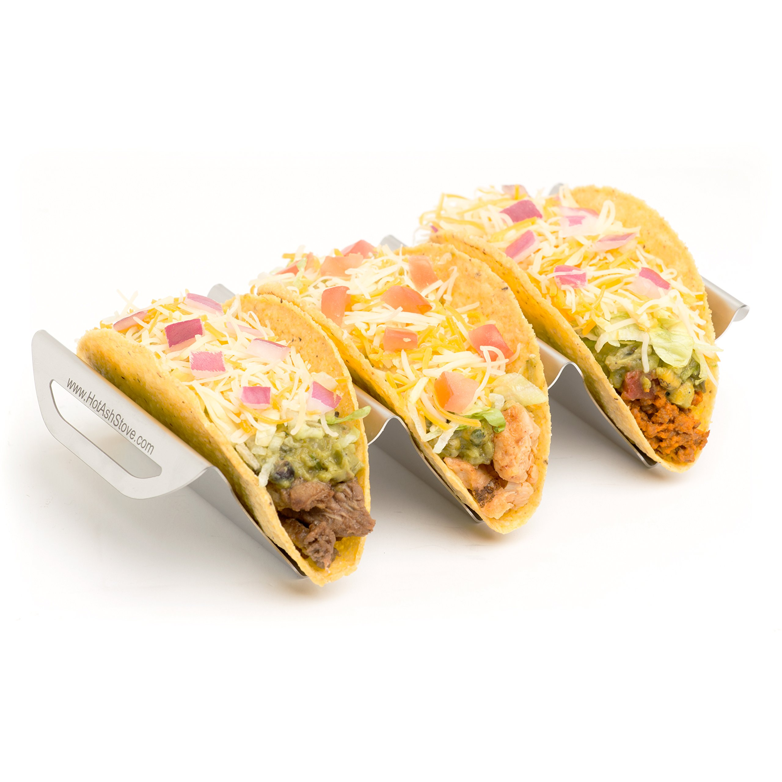 Stainless Steel Taco Holder Stand, 2-Pack, Holds 3 Tacos Each, Dishwasher, Oven and Grill Safe