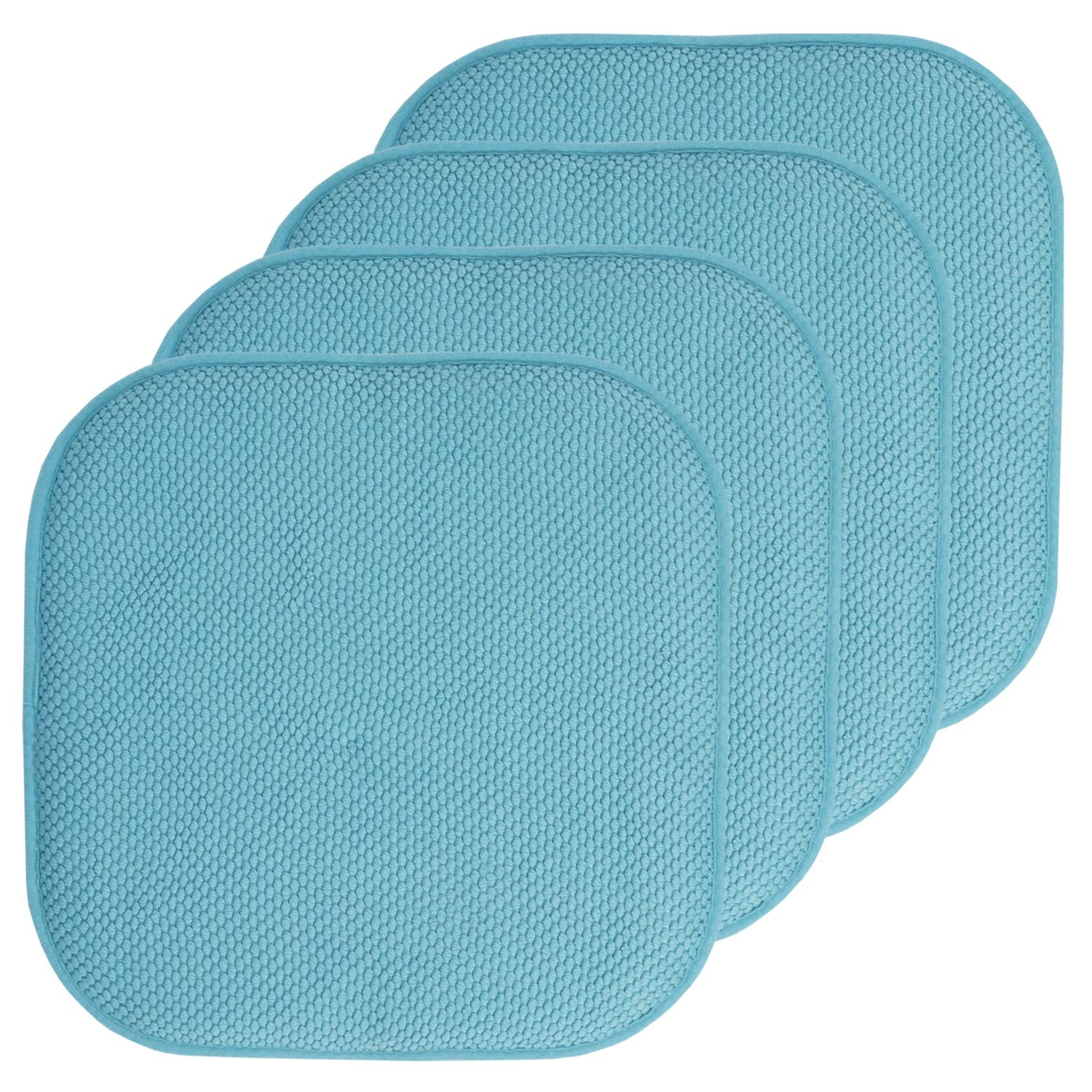 "Sweet Home Collection Chair Cushion Memory Foam Pads Honeycomb Pattern Slip Non Skid Rubber Back Rounded Square 16"" x 16"" Seat Cover, 4 Pack, Teal"
