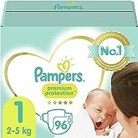Pampers Maat 1 Luiers (2-5 kg), Premium Protection, 96 Stuks, Onze Nummer 1 Luier voor Zachtheid en Bescherming van de…