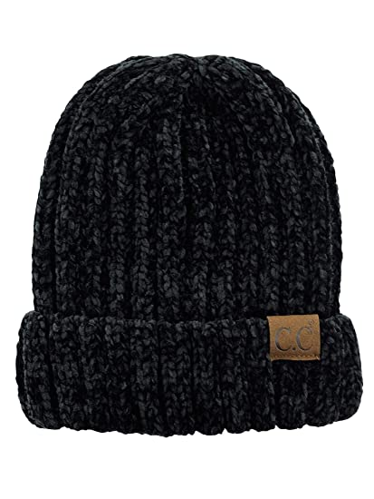 C.C Unisex Chenille Soft Warm Stretchy Thick Cuffed Knit Beanie Cap Hat -Black 5b1f0d2d182d