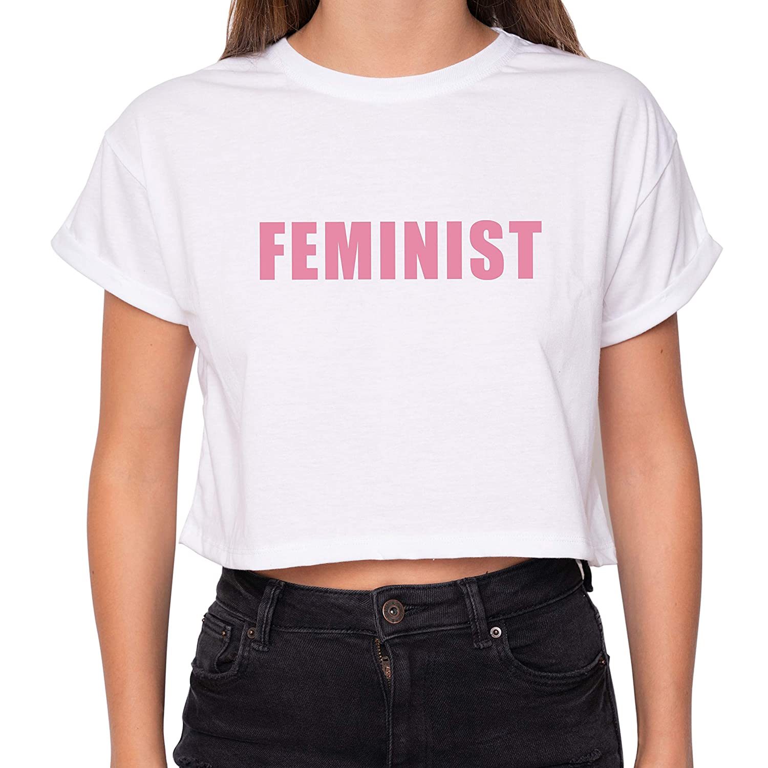 1f3bc212ae8faf Minga London Feminist Crop Top Fun Women s Tumblr at Amazon Women s  Clothing store