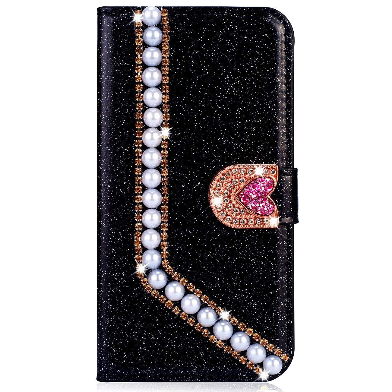 Dclbo H/ülle f/ür Huawei P8 Lite 2016//2015 Handyh/ülle Glitzer Bling Case H/ülle Leder Schutzh/ülle Gl/änzend Diamant Strass Magnet Flip Cover Lederh/ülle Handytasche f/ür Huawei P8 Lite 2016//2015-Rosa