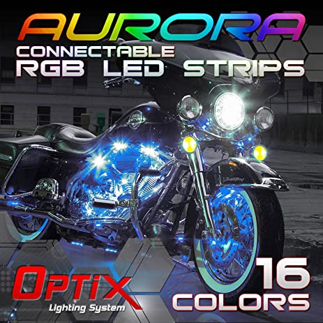 Amazon optix 10 pcs car and motorcycle led strip lights kit optix 10 pcs car and motorcycle led strip lights kit 16 colors rgb connectable aloadofball Image collections