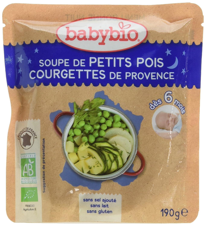 Babybio Soupe de Petits Pois/Courgettes de Provence 6+ Mois 190 g - Lot de 6 57040 alimentation bébé diversification