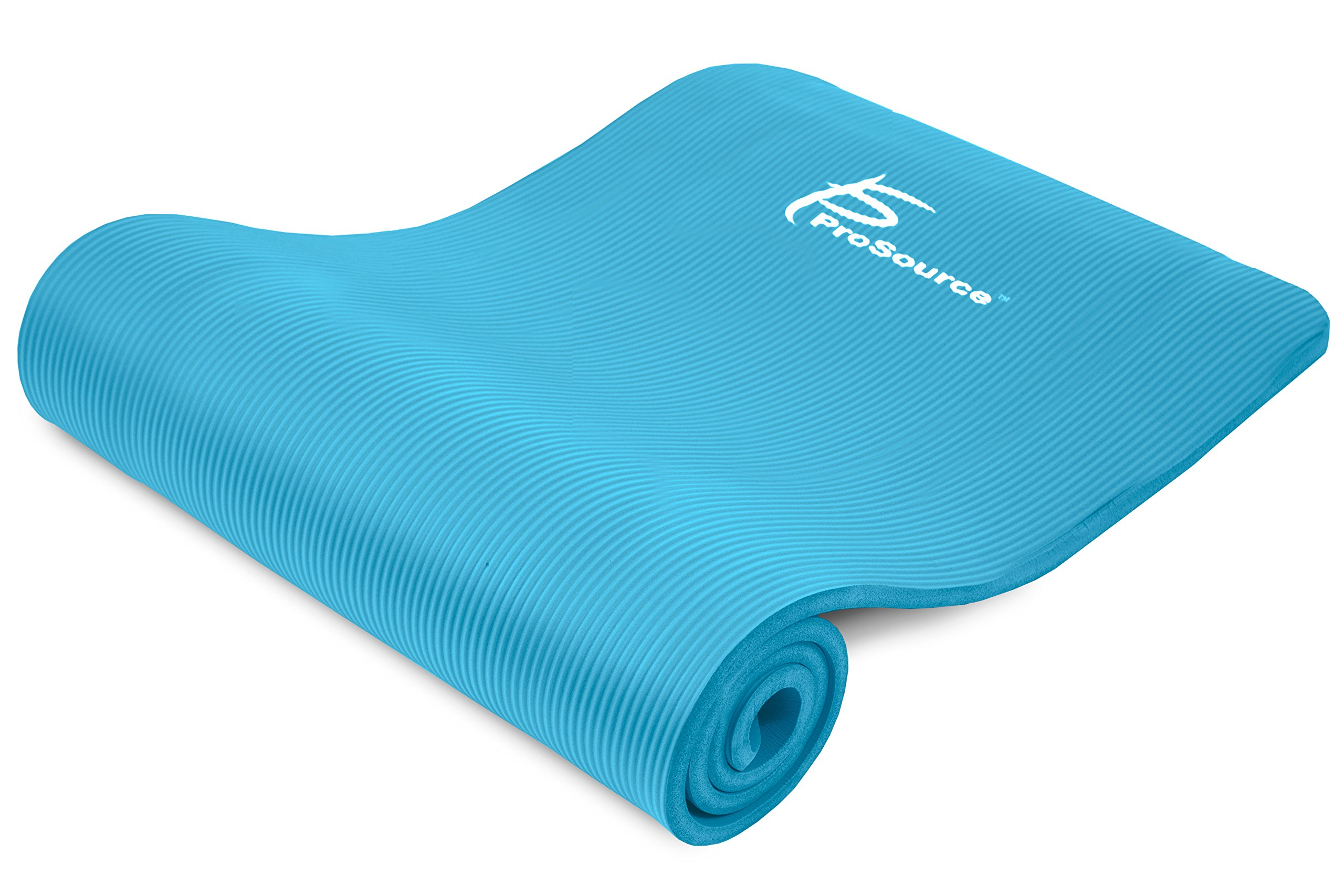 ProsourceFit Extra Thick Yoga and Pilates Mat ½'' (13mm), 71-inch Long High Density Exercise Mat with Comfort Foam and Carrying Strap, Aqua