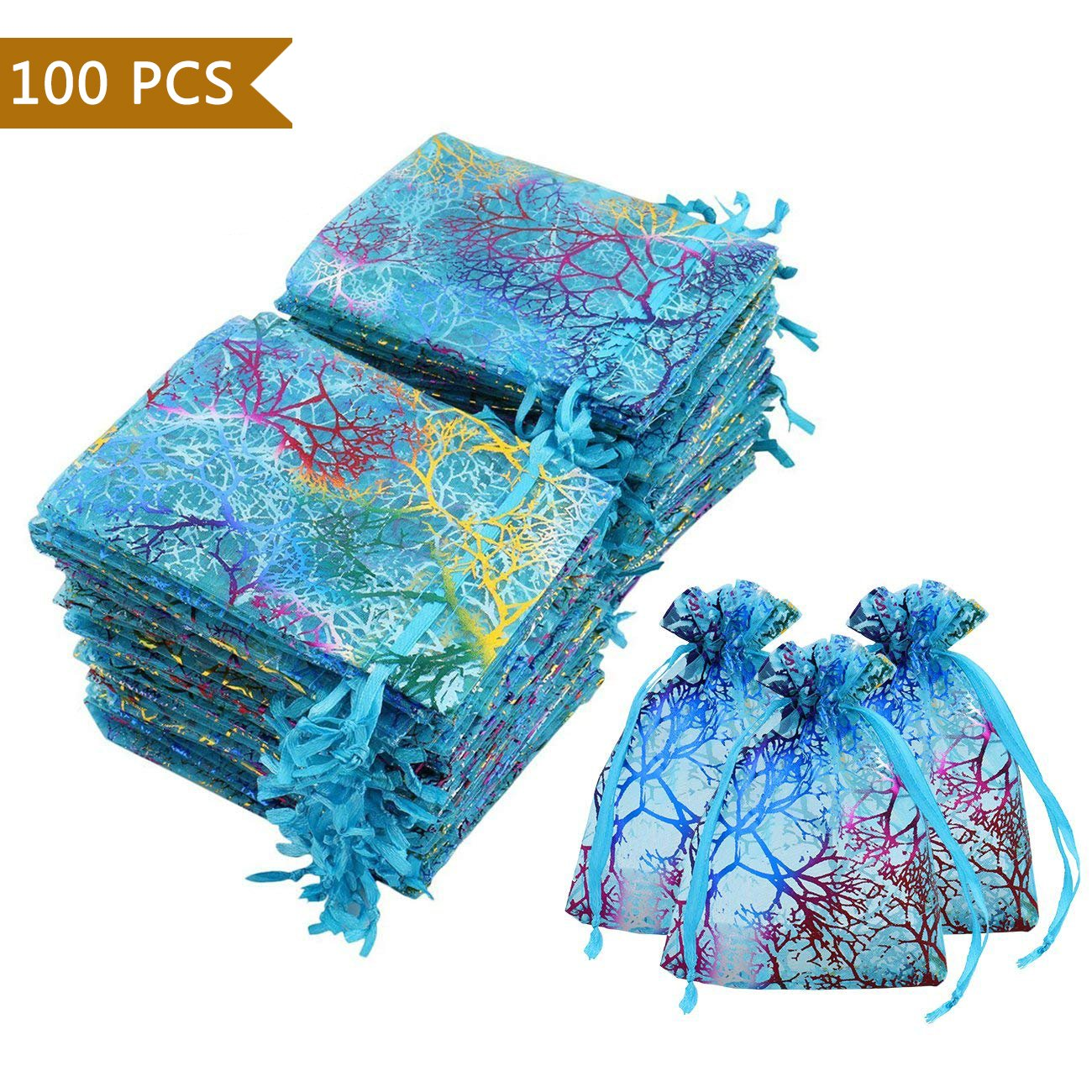 Luxbon 100Pcs Coralline Blue Organza Drawstring Bags Jewelry Pouches Wedding Party Candy Chocolate Christmas Favor Gift Bags 3.35'' X 4.7''