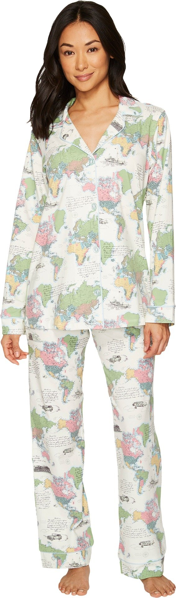 BedHead Women's Long Sleeve Classic Stretch Knit Pajama Set Travel Journal Medium