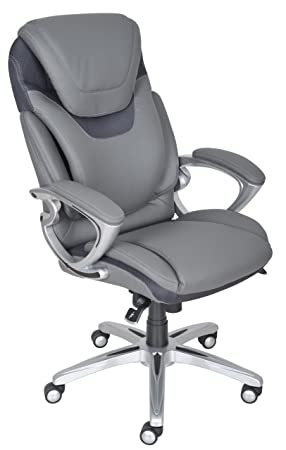 Amazon.com: Serta Works Executive Office Chair With AIR Technology, Bonded  Leather, Gray: Kitchen U0026 Dining