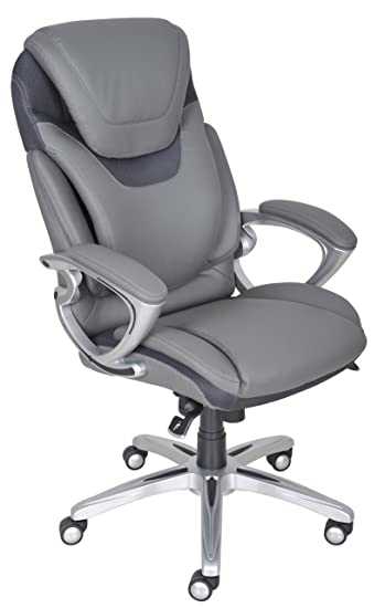 Serta Works Executive Office Chair With AIR Technology, Bonded Leather, Gray