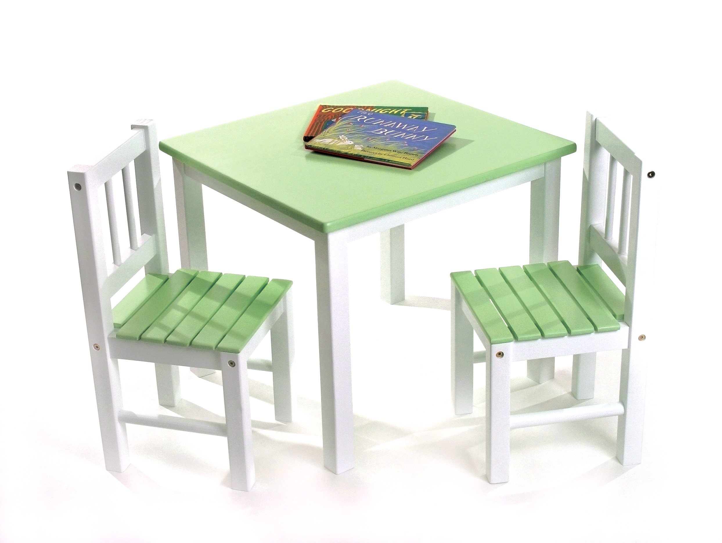 Lipper International 513GR Child's Table and 2 Chairs, Green and White