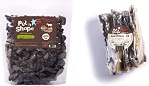 Pet 'n Shape Beef Lung Dog Treats & Rib Bone - Made and Sourced in The USA - All Natural Healthy Treat