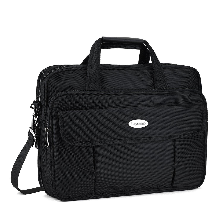 Briefcase Bag for 15 Inch Laptops, Expandable Large Hybrid Shoulder Bag, Water Resisatant Business Messenger Bags for 15.6 Inch Laptop, Computer, Tablet-Black Aroprank-004