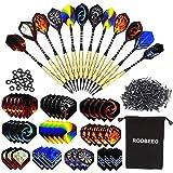 ROOBEEO Soft Tip Darts 12 Pcs 18g Plastic Tip Darts Set with Brass Steel Barrels&Aluminum Shafts,200 Extra Dart Tips 42 Dart